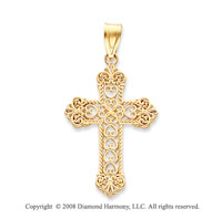 14k Yellow Gold Intricate Fleur de Lis Cross Pendant