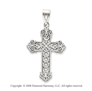 14k White Gold Stylish Carved Fashion Cross Pendant