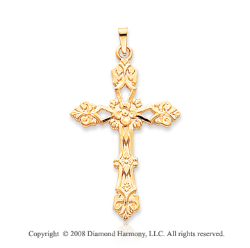 14k Yellow Gold Elegant Ornate Fashion Cross Pendant