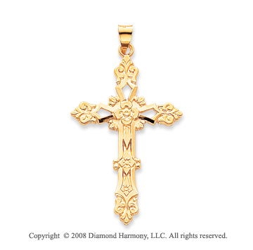 14k Yellow Gold Stunning Fashion Cross Pendant