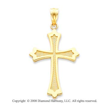 14k Yellow Gold Fine Carved Polished Cross Pendant