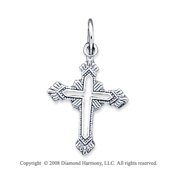 14k White Gold Open Center Fashion Cross Pendant