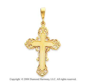 14k Yellow Gold Blessed Elegant Fashion Cross Pendant