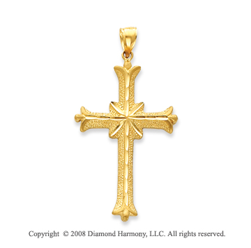 14k Yellow Gold Elegant Polished Cross Pendant