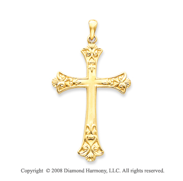 14k Yellow Gold Divine Glory Fashion Cross Pendant