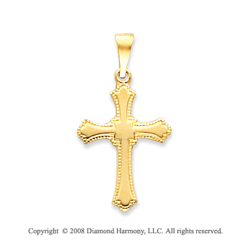 14k Yellow Gold True Faith Polished Cross Pendant