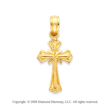 14k Yellow Gold Shining Light Cross Pendant