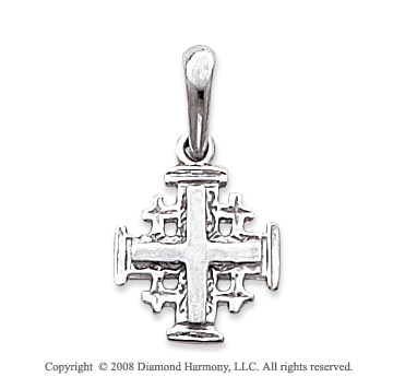 14k White Gold Sleek Design Small Carved Cross Pendant