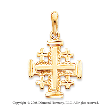 14k Yellow Gold Stylish Carved Polished Cross Pendant