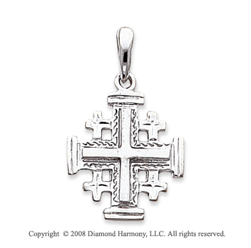 14k White Gold Stylish Carved Polished Cross Pendant