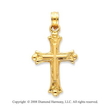 14k Yellow Gold Beautifully Detailed Cross on Cross Pendant