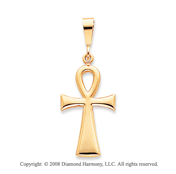 14k Yellow Gold Shining Polished Ankh Cross Pendant