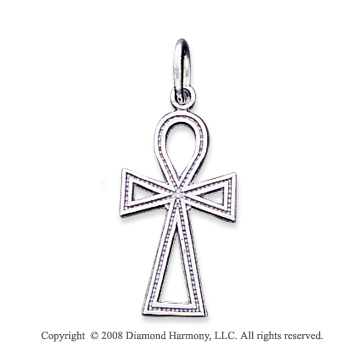 14k White Gold Fashionable Carved Cross Pendant