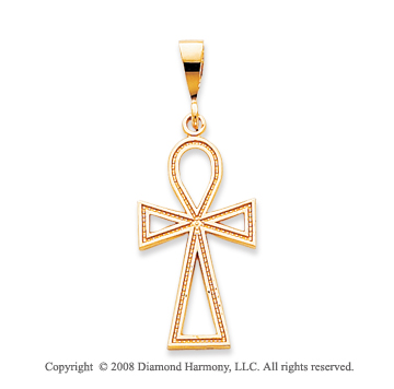 14k Yellow Gold Fashionable Ankh Cross Pendant