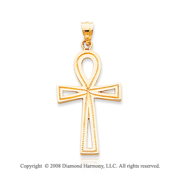 14k Yellow Gold Fine Carved ANKH Cross Pendant