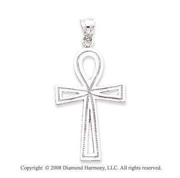 14k White Gold Stylish Carved Cross Pendant