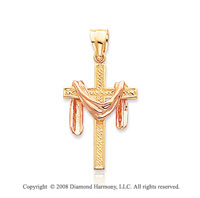 14k Two Tone Robe Draped Cross Pendant