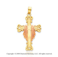 14k Two Tone Stylish Design Cloak Cross Pendant