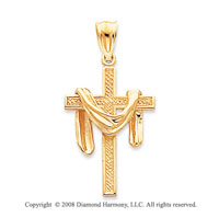 14k Yellow Gold Blessed Carved Cloak Cross Pendant