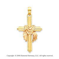 14k Two Tone Fashionable Cloak Cross Pendant