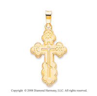 14k Yellow Gold Divine Children Carved Orthodox Cross