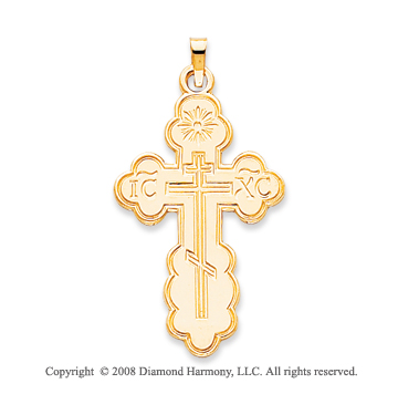 14k Yellow Gold Divine Carved Orthodox Cross