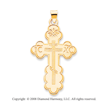 14k Yellow Gold Sacred Carved Orthodox Cross