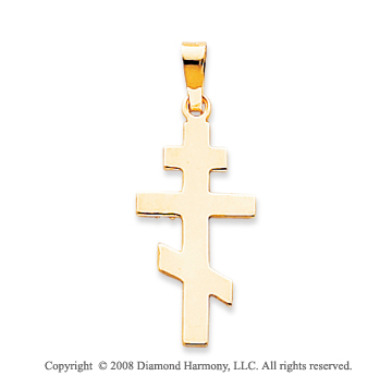 14k Yellow Gold Divine Plain Polished Orthodox Cross