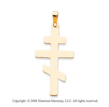 14k Yellow Gold Plain Smooth Polished Orthodox Cross