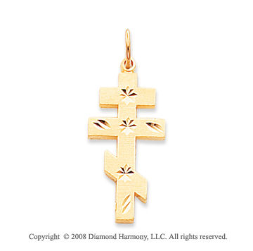 14k Yellow Gold Simple Carved Polished Orthodox Cross