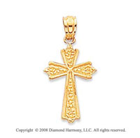 14k Yellow Gold Polished Nugget Style Cross Pendant