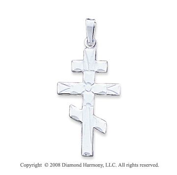 14k White Gold Divine Plain Polished Orthodox Cross