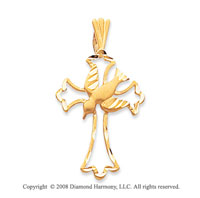 14k Yellow Gold Stylish Design Polished Cross Pendant