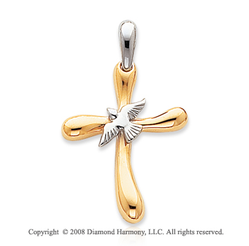 14k Two Tone Sleek Polished Dove Cross Pendant