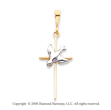 14k Two Tone Large Carved Dove Cross Pendant