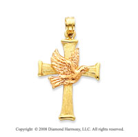 14k Two Tone Fine Carved Dove on Cross Pendant