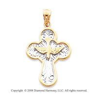 14k Two-Tone Stylish Carved Cross Pendant