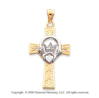 14k Two Tone Stylish Carved Claddagh Cross