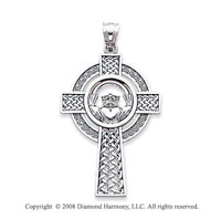 14k White Gold Ornate Round Carved Claddagh Cross Pendant