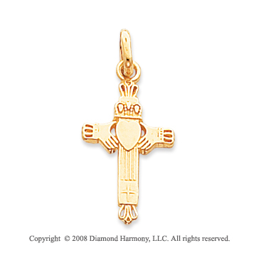 14k Yellow Gold Fine Carved Claddagh Cross Pendant