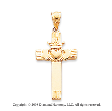 14k Yellow Gold Fine Carved Heart Claddagh Cross Pendant