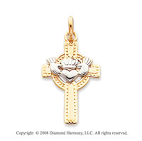 14k Two Tone Carved Heart Claddagh Cross Pendant