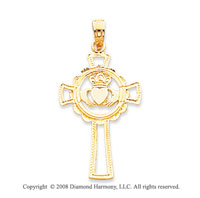 14k Yellow Gold Delicate Carved Claddagh Cross Pendant