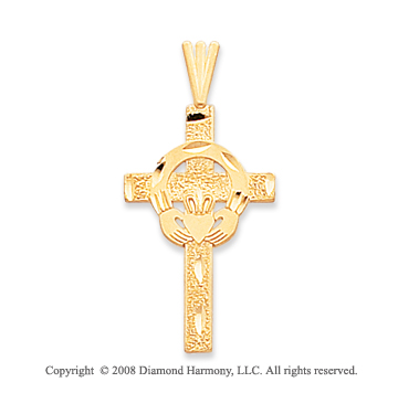 14k Yellow Gold Round Carved Claddagh Cross Pendant