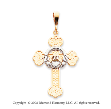 14k Two Tone Floral Claddagh Cross Pendant