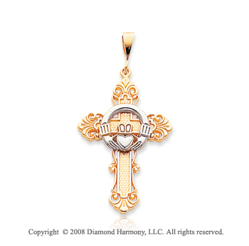 14k Two Tone True Faith Carved Claddagh Cross Pendant