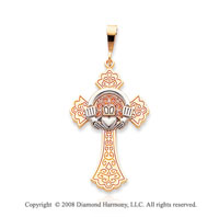 14k Two Tone Divine Faith Claddagh Cross Pendant