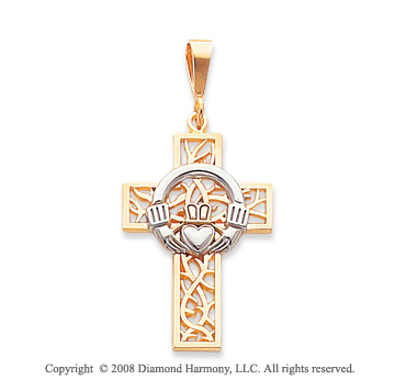 14k Two Tone Filigree Small Carved Claddagh Cross