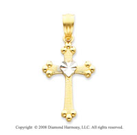 14k Two-Tone Classic Center Heart Carved Cross Pendant