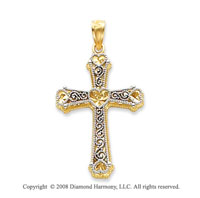 Stunning 14k Two-Tone Carved Heart Cross Pendant